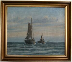 Schlepperdienst-before-the-Port-Marine-Painter-1-half-20-Jh-Signed-Hard