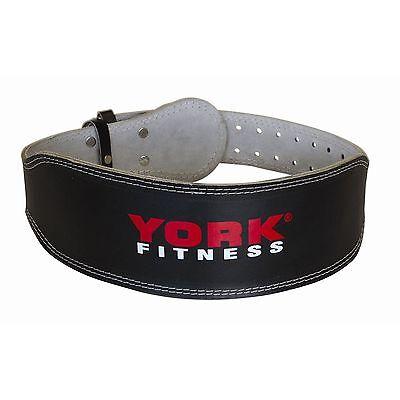 "York Weight Lifting Belt Leather 4"" Padded Power Training Gym Exercise Fitness"