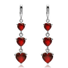 Fashion Heart Cut White Gold Plated Rhinestone Crystal Dangle Drop Earrings