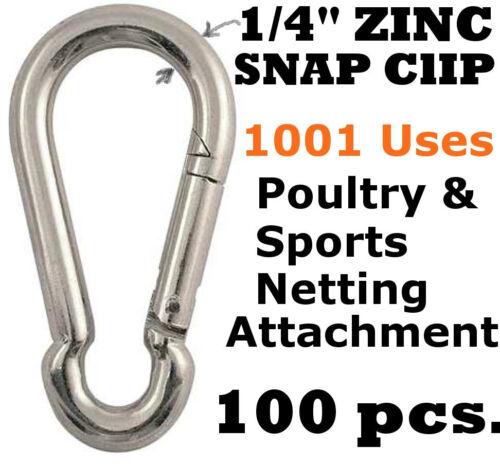 """Mousqueton Clips 100 pcs 1//4/"""" zinc D-Ring Snap Hook Lock Clip Bâton Cage"""