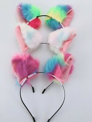 Women Girl Fluffy Fancy Cat Kitty bell Costume Ear Party Hair headband band Prop