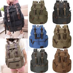 Men-Women-Retro-Canvas-Travel-Sport-Bag-Rucksack-School-Bookbag-Laptop-Backpack