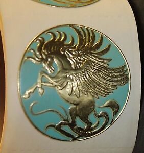 Vintage-Pegasus-Embossed-Gold-Foil-Sticker-Roll-50-Collection-1981-Illuminations