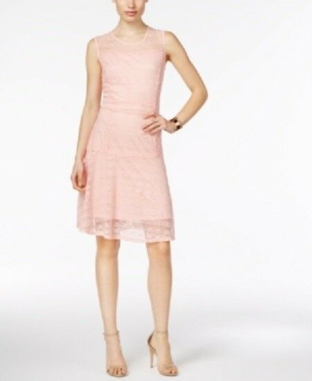 NWT Ny Collection Womens Size XLarge Pink Mixed-Lace Illusion Fit & Flare Dress