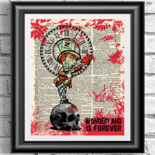Zombies Alice au pays des merveilles Mad Hatter sur les pages de livre dictionnaire Antique Gothique