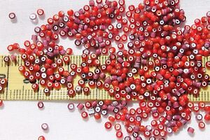 11-0-Old-Time-Vintage-Cranberry-Amethyst-amp-Cherry-White-Heart-Seed-Beads-1oz