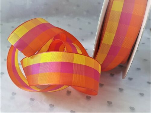 Luxury Wire Edged Ribbon LAST STOCK! FUNKY GINGHAM Bright Pink Orange /& Yellow