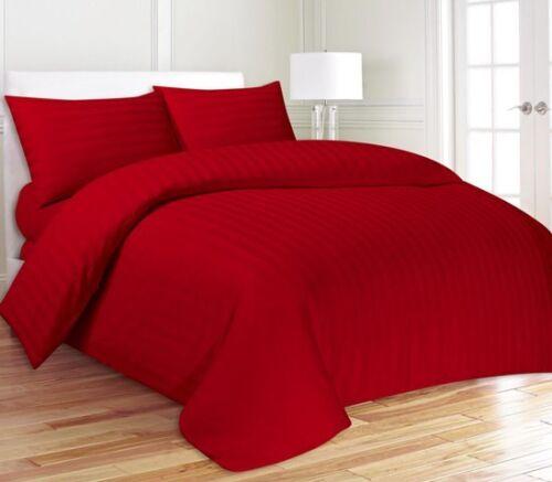 Egyptian Cotton Red Satin Stripe Duvet Quilt Cover Bedding Set 200 Thread