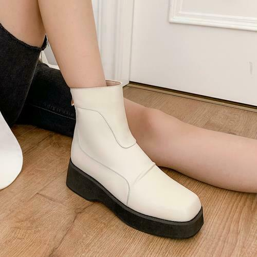 Details about  /Women /'s Cleated Sole Square Toe Comfort Back Zipper Ankle Boots Outdoor 44//47 L