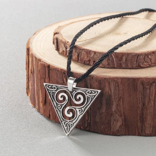 Viking Spiral Triskele Triangle Pendant Celtic Triskelion Necklaces Men Jewelry
