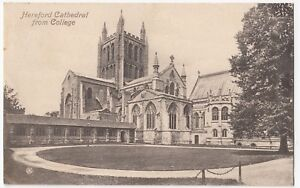 Hereford-Cathedral-From-College-PPC-1909-PMK-By-Valentines