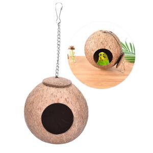 natural-coconut-shell-bird-nest-house-hut-cage-feeder-pet-parrot-parakeet-UUULK