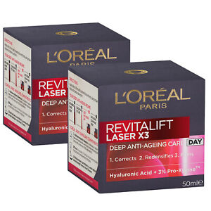 L'Oreal Paris Revitalift Laser X3 Day Cream Moisturiser 50ml x 2