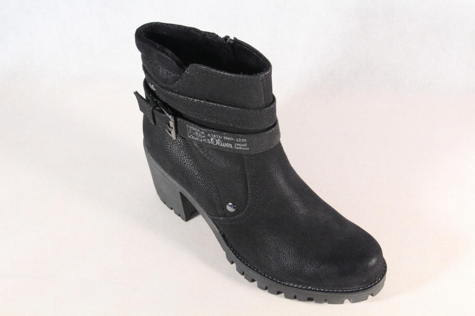 S.OLIVER botas Mujer, Botines, botas botas botas Negro 25426 Nuevo 97c9d9