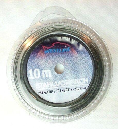 10m Stahlvorfach Stahl 3kg inkl Nylon Coated Wire 0,169€//m 8 Klemmhülsen