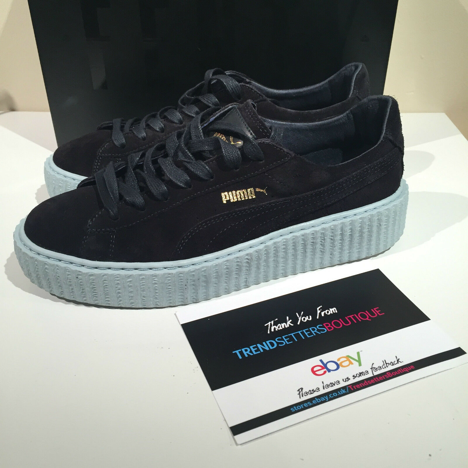 PUMA RIHANNA BLACK SUEDE CREEPERS US UK 7 7.5 8 9 10 FENTY CREEPER RIRI TRAINERS