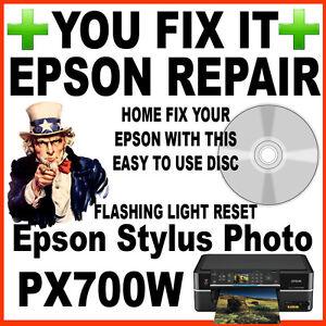 Epson-Stylus-Photo-PX700W-servicio-necesario-fijar-Reparacion-Fallas-Reseteo-Disco