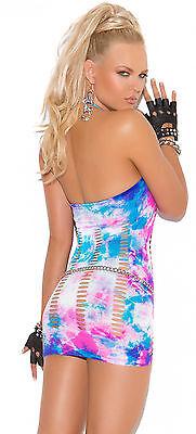 Curvy Exotic Adult Woman One Size Neon Tie Dye Mini Dress w//Pothole Detail