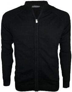 Zara Mens Black Full zip 100% Cotton Jumper Cardigan Sweater ...