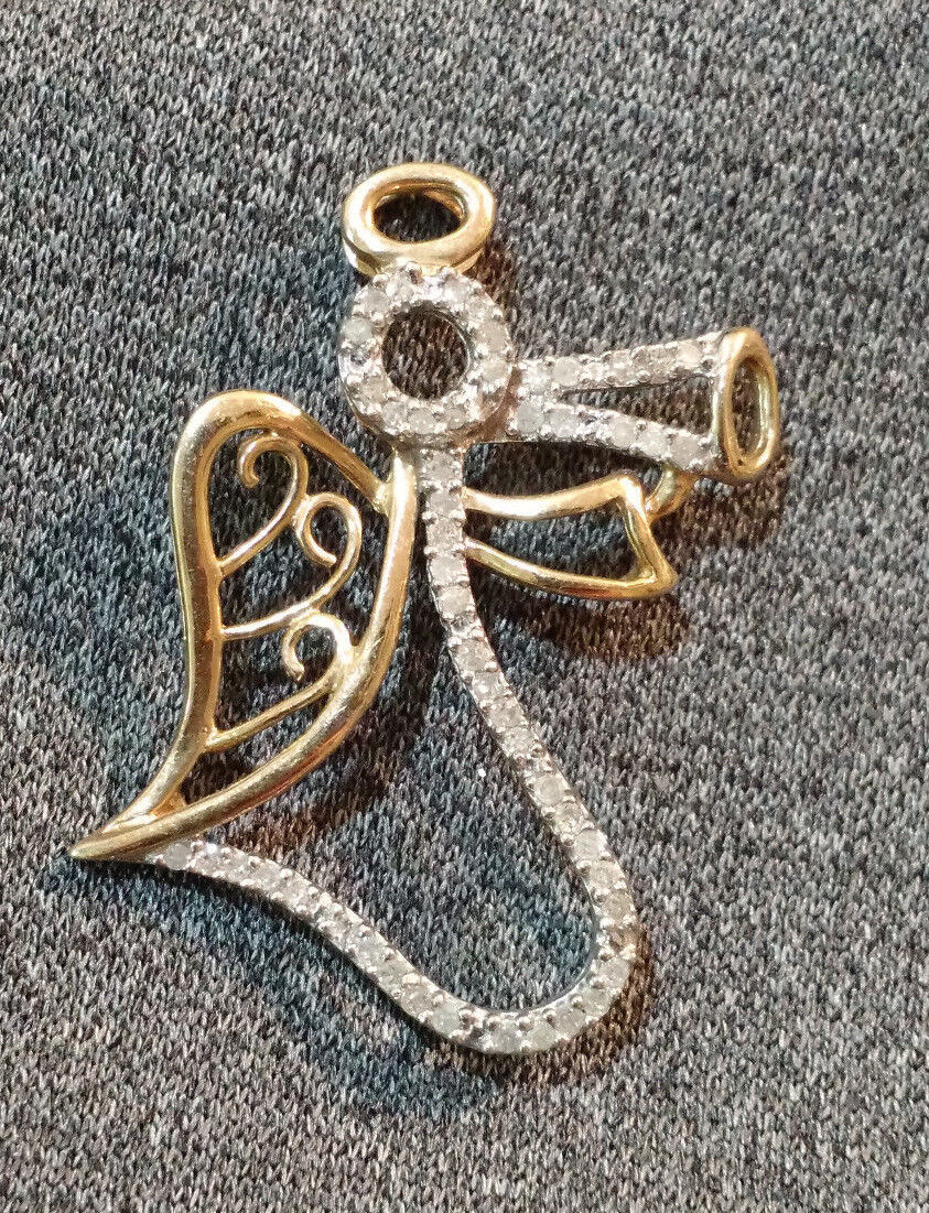 Guardian Angel Pendant 10k Yellow gold Women's Religious Jewelry Diamonds 2.6G