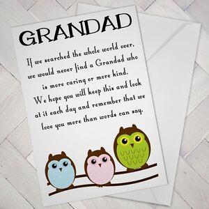 funny grandad birthday card fathers day nice sweet wise owl cute