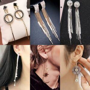 934af70f6 Image is loading Fashion-Long-Tassel-Crystal-Earrings-Women-Ring-Drop-