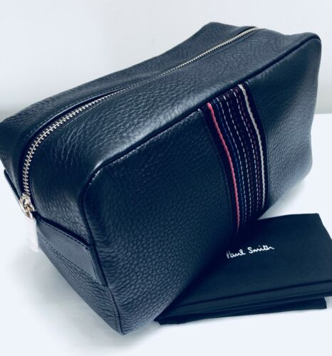 Paul Smith Uomini Wash Bag ctyweb 100/% IN PELLE NERA MADE IN THAILAND
