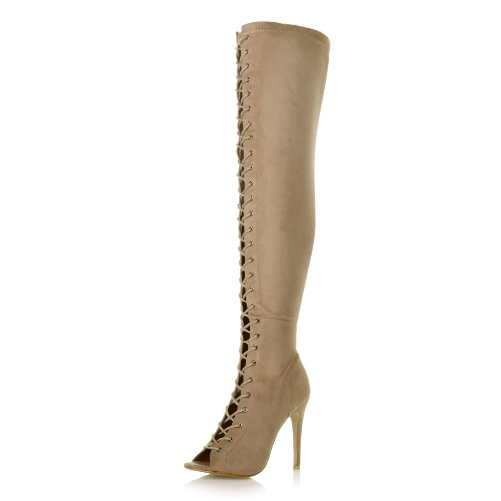 09ff52c498d Womens ladies stiletto high heel lace up zip over the knee thigh high boots  size