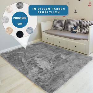 Teppich-Hochflor-200x300-Shaggy-Flokati-Langflor-Fussmatte-Laeufer-Weich-6-Farben