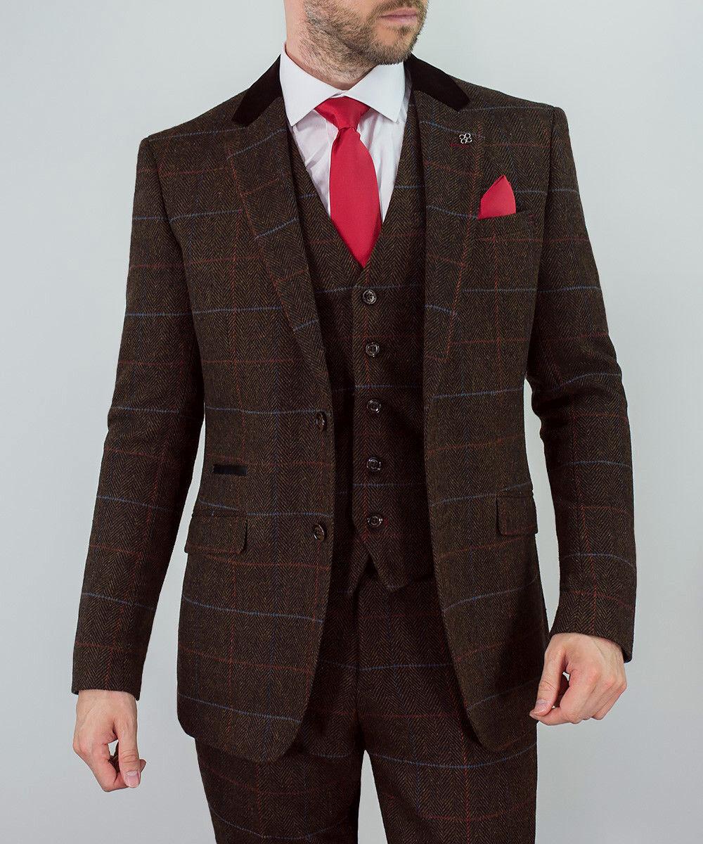 Herren WOOL MIX Tweed 3 Piece Suit Cavani Blazer Waistcoat Trouser Peaky Blinders