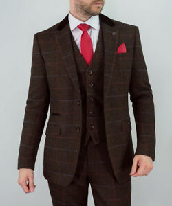 Mens-WOOL-MIX-Tweed-3-Piece-Suit-Cavani-Blazer-Waistcoat-Trouser-Peaky-Blinders