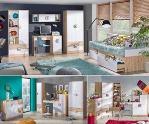 Details zu Jugendzimmer Kinderzimmer komplett NICKI Set B Schlafzimmer  Schrank Schreibtisch