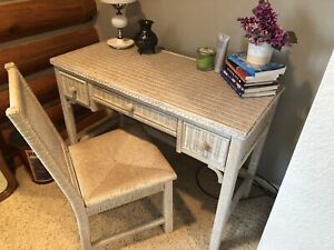 Details About Vintage Henry Link Wicker Desk Set