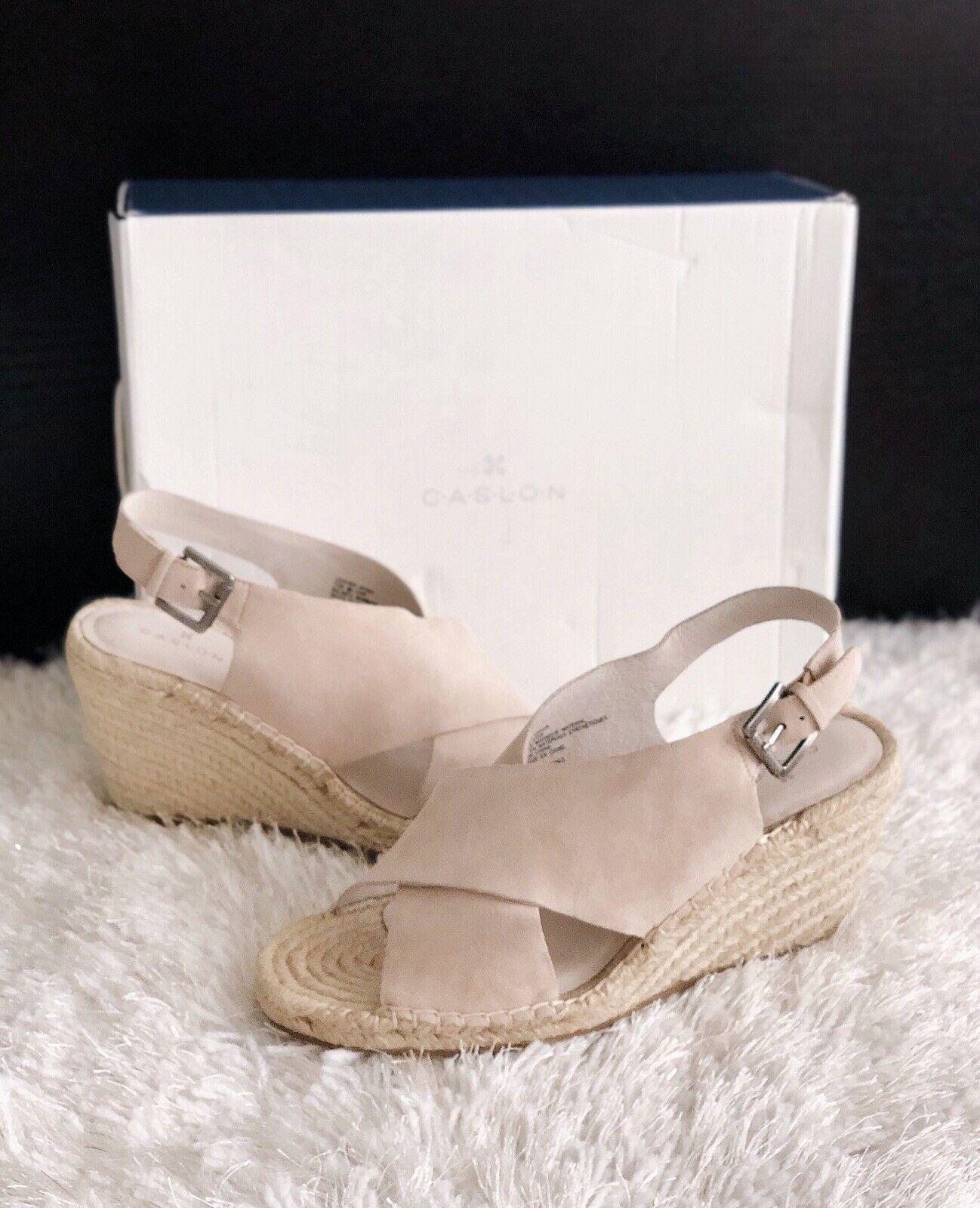 3b1bd76058b ✨New CASLON Suri Espadrille Wedge Suede Sandals Blush Womens Size 9.5M $90  NIB