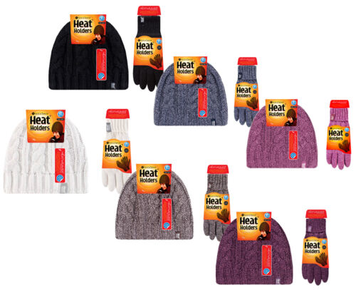 Heat Holders Damen winter warm thermo fleece handschuhe und beanie mütze