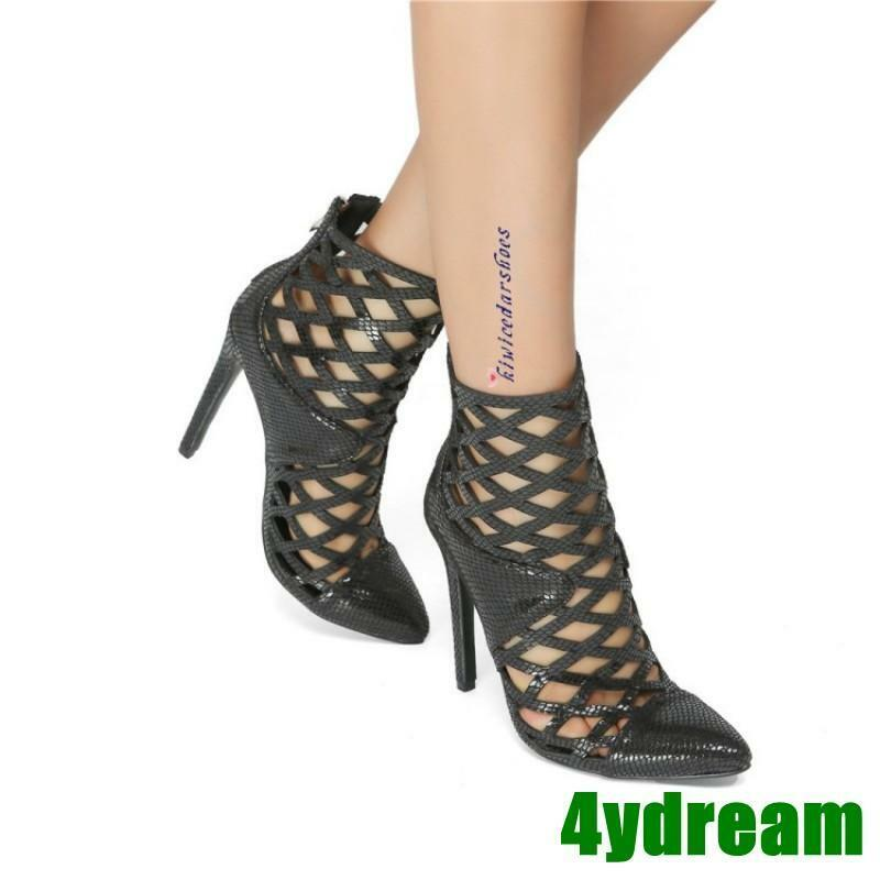 Europe Women High Heel Platform Hollow Out Pointed Toe Sandals Party Size 35-47