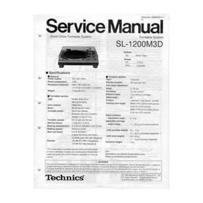 technics service manual for sl1200m3d turntable ebay rh ebay com technics 1200 m3d review technics 1200 m3d service manual