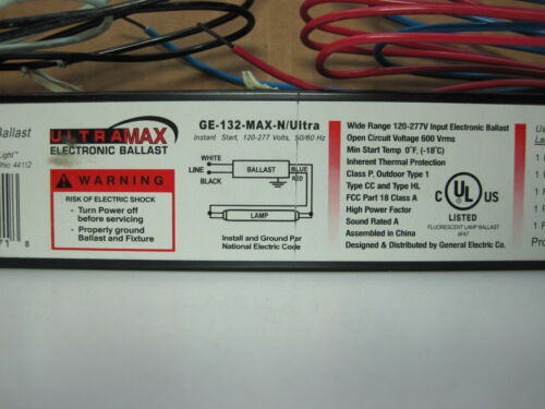 GE 49771 GE-132-MAX-N//Ultra Ultramax 120//277V Ballast for F32T8 Lamp 10-Pack