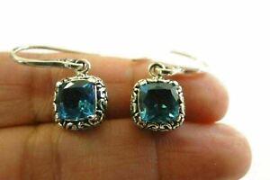 Square-London-Blue-Topaz-Solitaire-925-Sterling-Silver-Dangle-Drop-Earrings