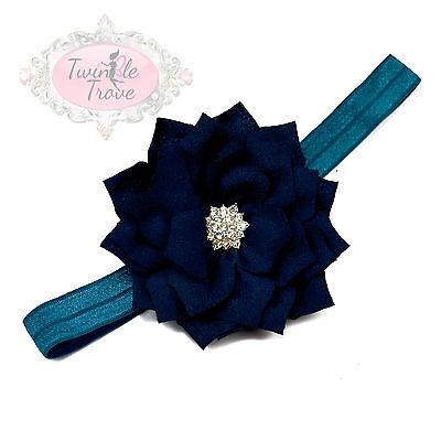 Baby Toddler Kids Hairbands Hair. Diamante Dahlia Flower on Elastic Headbands.