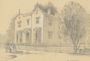 Double Sided Late 19th Century Graphite Drawing - Study of a Manor House