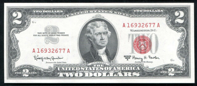 1963-A $2 RED SEAL LEGAL TENDER UNITED STATES NOTE GEM UNC
