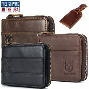 Mens-Genuine-Leather-Wallet-RFID-Zipper-Bifold-Purse-ID-Credit-Card-Holder-Tag