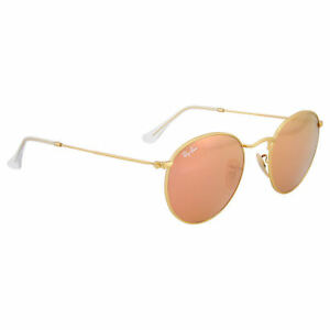 e9675451100 Ray-Ban RB3447 Unisex Round Sunglasses with Gold Frame and Copper Flash  Lenses