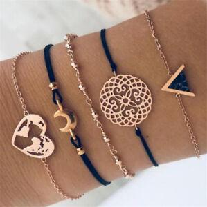5Pcs-Set-Women-Boho-Heart-Hollow-Map-Moon-Beads-Bracelet-Bangle-Jewelry-Gift-NEW
