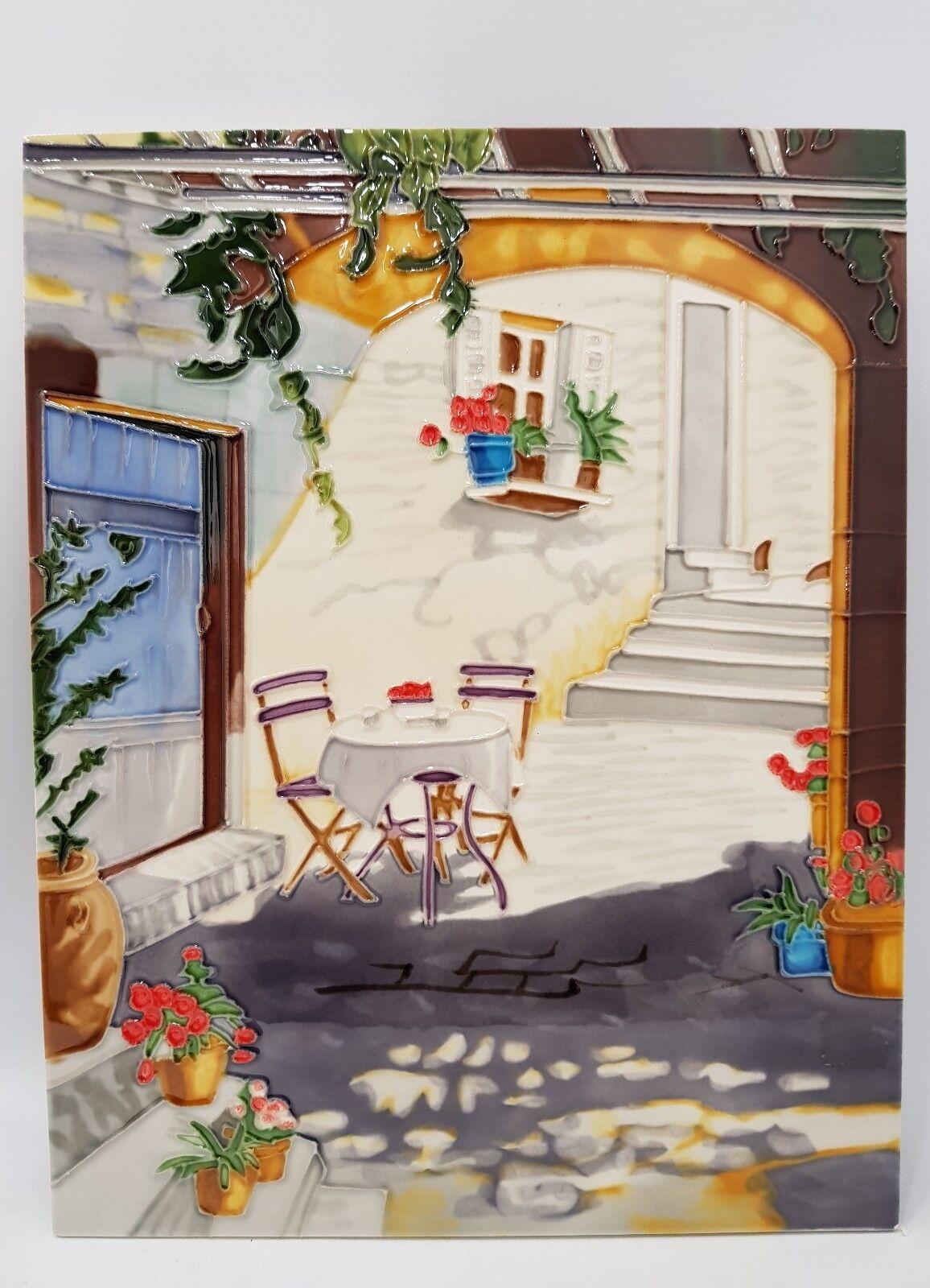 Hand Gefertigt Keramik Wandkunst Kachel Südländischer Hof 279x355mm | Angenehmes Aussehen