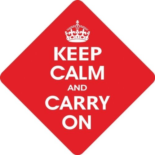 Keep Calm And Carry On Diamond shaped Car Window Hanger Graphics /& Pinstripes