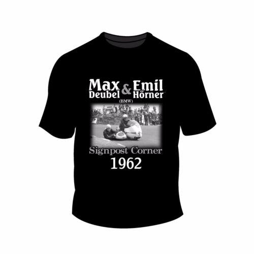 Homme MAX DEUBEL /& EMIL Horner tshirt-Isle of Man TT panneau coin 1962