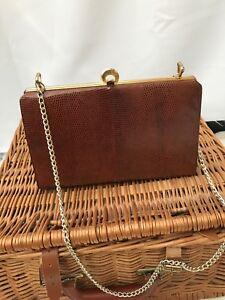 Debroyal-1950s-Vintage-Handbag-Bronze-Patent-Leather-Suede-Lining