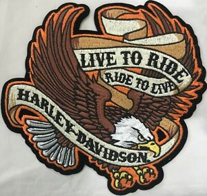 Harley-Davidson-Live-To-Ride-Eagle-Patch-Emblem-Motorcycle-Vest-EM009393